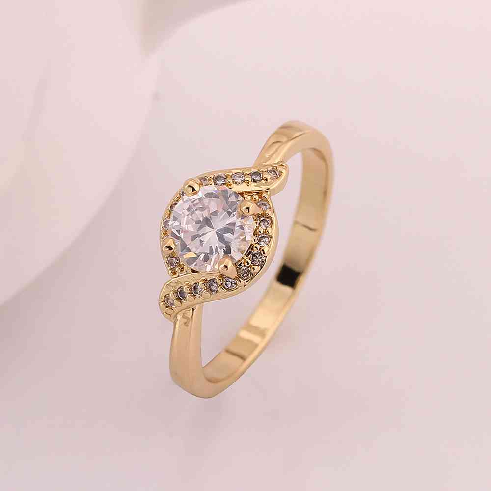 Best gift gold color fashion jewelry Wedding ring one S stone ...