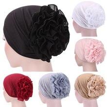 Женская шляпка-тюрбан с цветочным кружевом, индийская Кепка, мусульманские шляпы, Кепка-сетка для волос, шляпка с цветком, шапочка