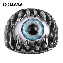 GOMAYA Stainless Steel Ring Mens Rings Punk Rock Wholesale Claw Evil Eye Bague Homme Party Fashion Jewelry Cool