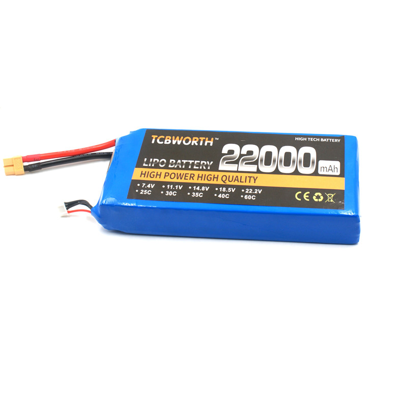 TCBWORTH Hot Rechargeable RC LiPo Battery Power 4S 14.8V 22000mAh 25C For RC Airplane Quadrotor Helicopter Drone Tank Car