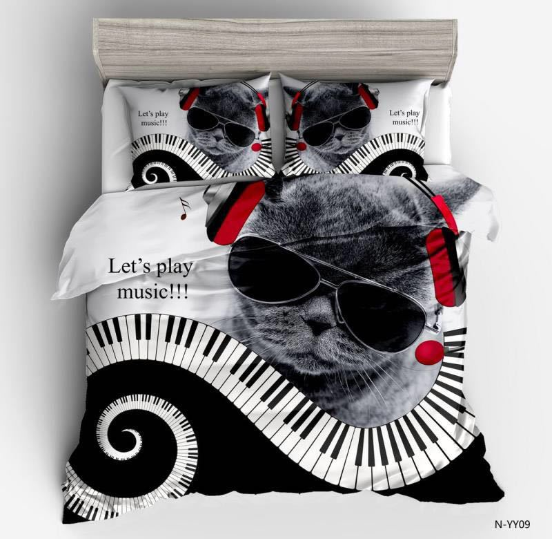 Copripiumino Musica.3d Musica Gatto Set Copripiumino Gatto Nero Con Occhiali Da Sole