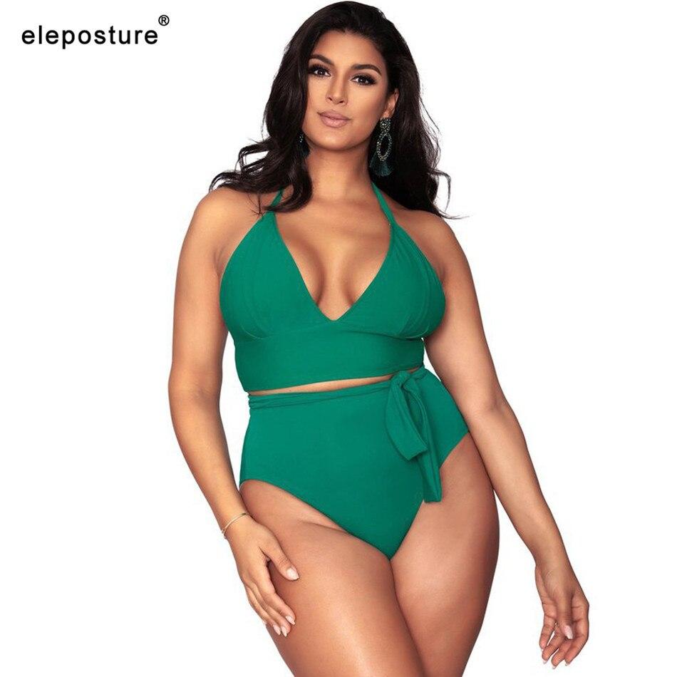 2019 Plus Size Bikini Swimwear Women High Waist Swimsuit Halter Push Up Bikini Set Solid Bathing Suits Beach Wear Swimming Suit