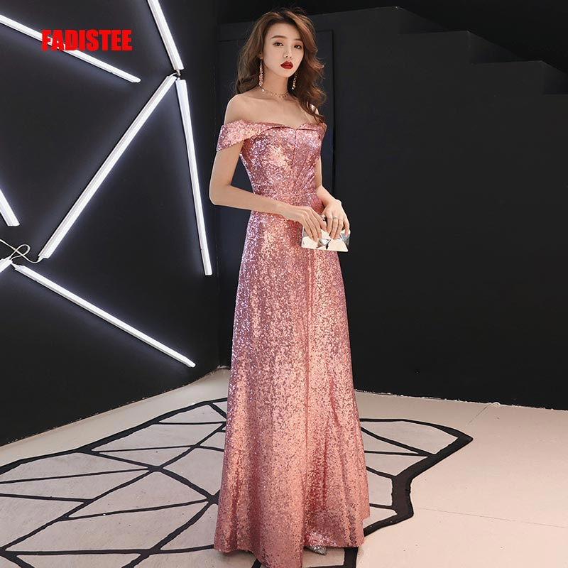 FADISTEE New arrival Vestido De Festa Long   Evening     Dress   Bride Party Prom   Dresses   sequins A-line boat sleeves 2019