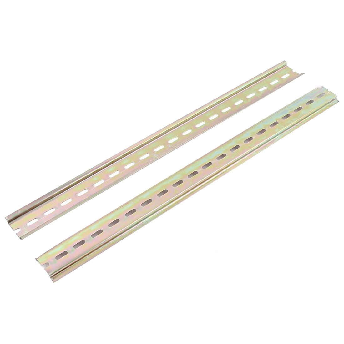 2pcs Slotted Metal 35mm DIN Mounting Rail 40cm Long for AC Contactor