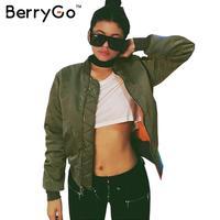 SIMPLEE APPAREL Winter Parkas Army Green Bomber Jacket Women Coat Cool Basic Down Jacket Padded Zipper