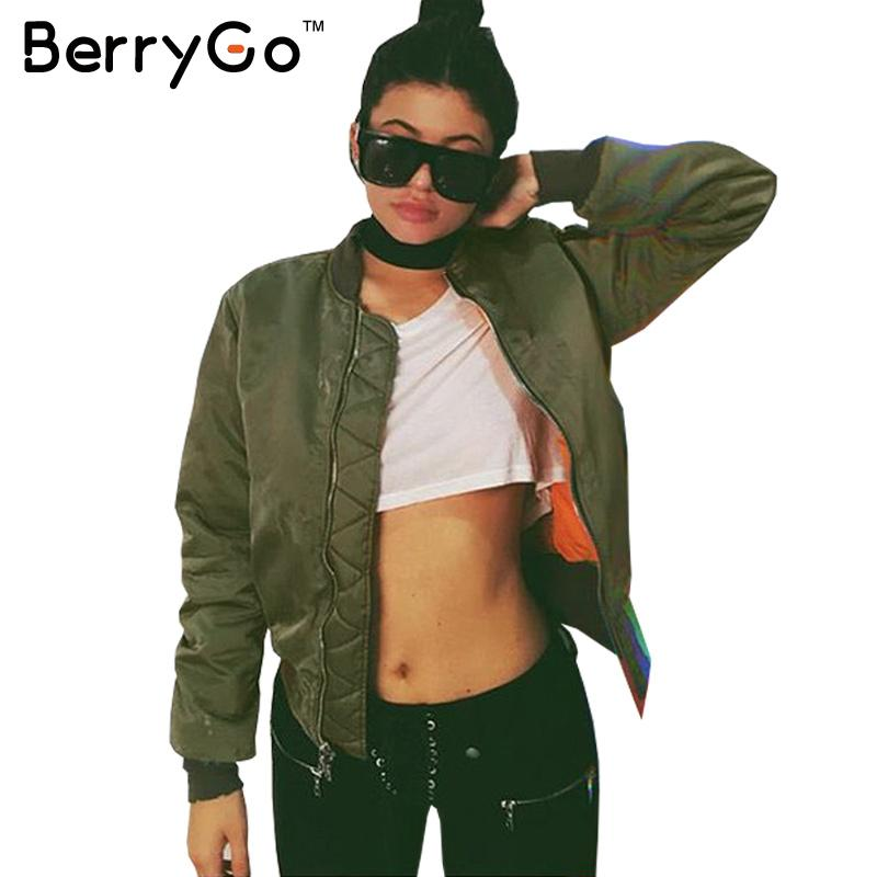 BerryGo Winter parkas Army Green bomber jacket Womes