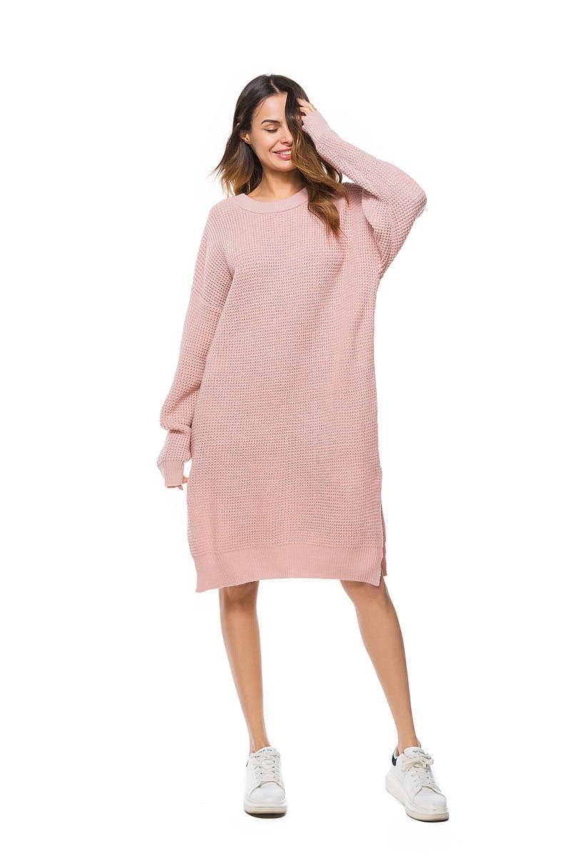 Fall Winter Vintage Mustard Side Slit Crochet Sweater Dress for Women Cute Ladies Retro Cosy Loose Split Pullover One Size 26