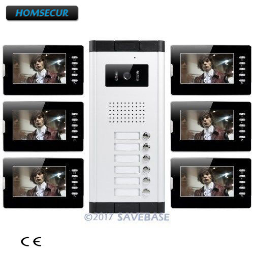 HOMSECUR 7 Hands-free Video&Audio Door Entry Kit with Dual-way Intercom for 6 Families