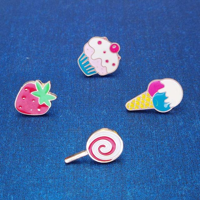 Cute Enamel Ice Cream Lollipop Cake Strawberry Brooches