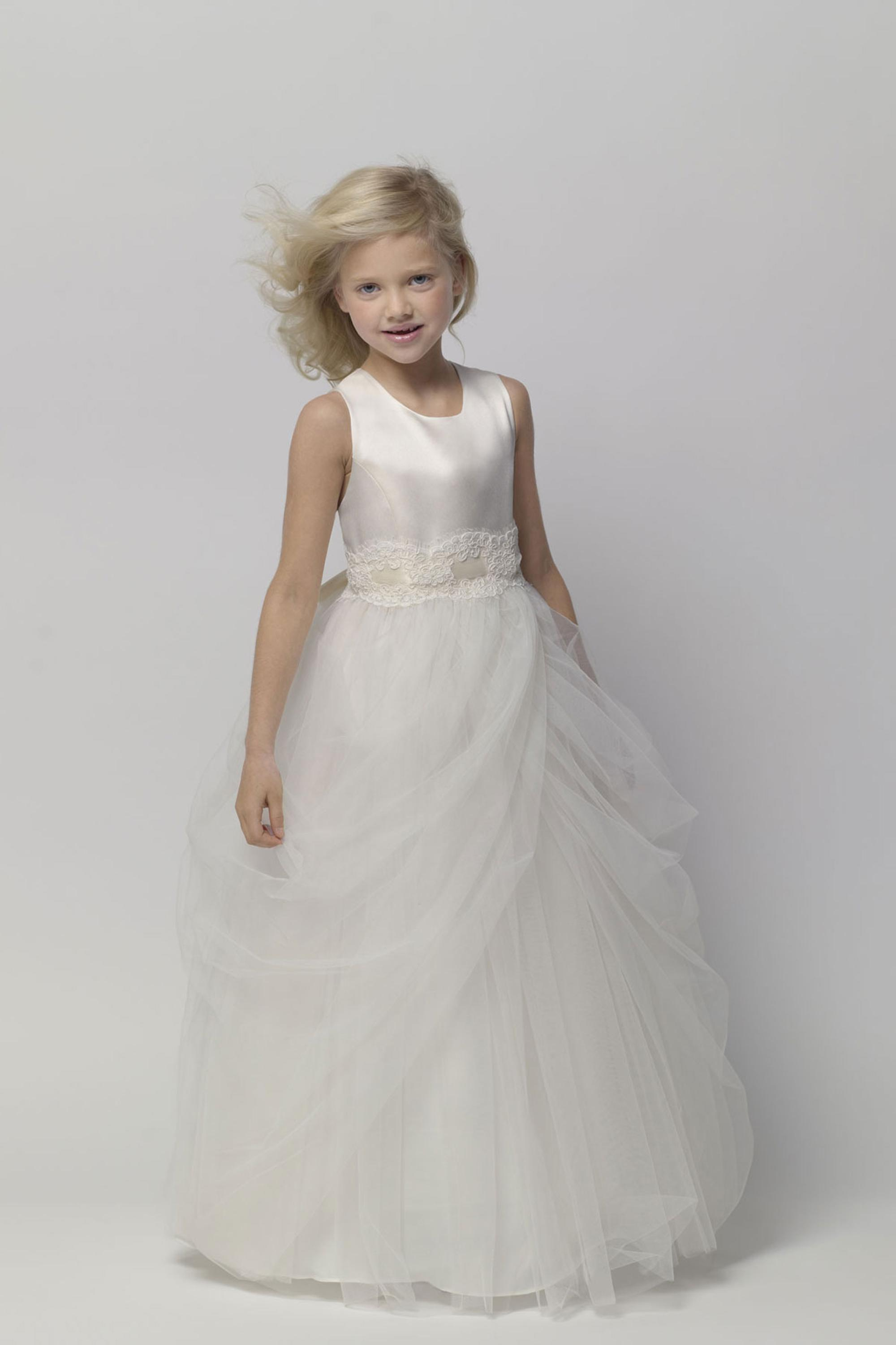 Flower Girls Dresses For Wedding Gowns White And Ivory Girl Birthday Party Dress Ankle-Length Mother Daughter Dresses For Girls new white ivory nice spaghetti straps sequined knee length a line flower girl dress beautiful square collar birthday party gowns