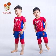 BAILIWEINI2019 summer Spiderman boy short-sleeved suit cartoon pants two sets
