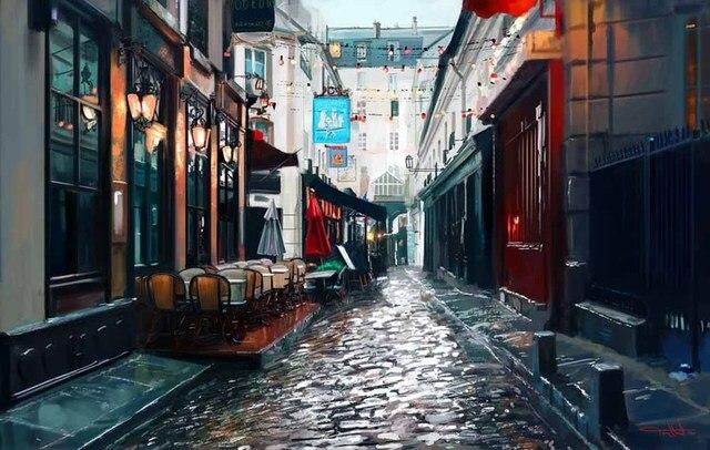 moderne art affiches de d coration belle paysage ville rue peinture l 39 huile sur toile d 39 hiver. Black Bedroom Furniture Sets. Home Design Ideas