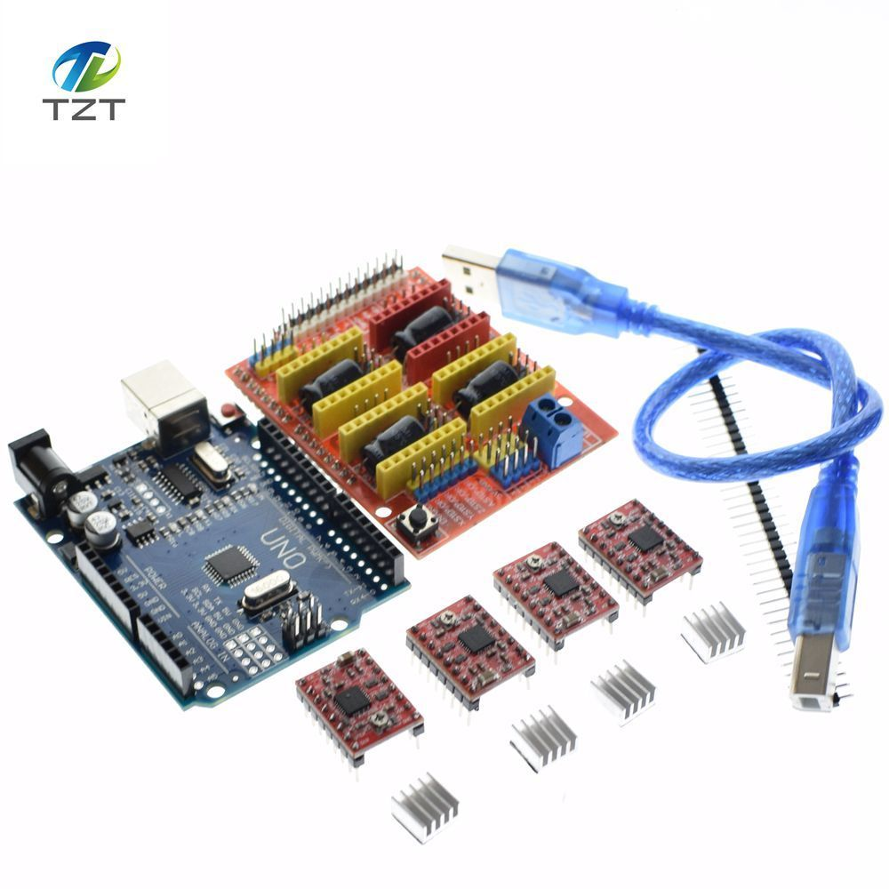Free Shipping Cnc Shield V3 Engraving Machine 3D Printer 4pcs A4988 Driver Expansion Board For Arduino