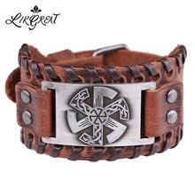 LIKGREAT Wicca, славянская печать, очаровательный браслет, манжета, браслет, ретро стиль, панк, ювелирное изделие, регулируемая широкая коса, кожаные браслеты для мужчин