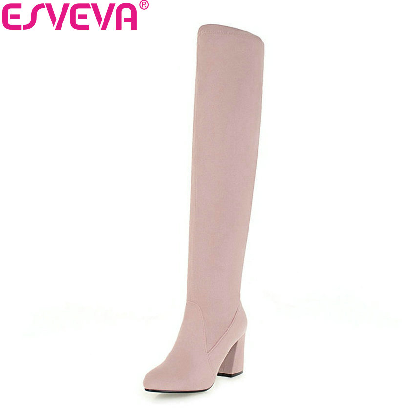 ESVEVA 2019 Women Boots Slip; on Square High Heels Over The Knee Boots Winter Shoes Western Style Solid Shoes Woman Size 34-43 doratasia 2018 large size 34 43 chunky heels women boots shoes slip on over the knee high boots leisure fashion shoes woman
