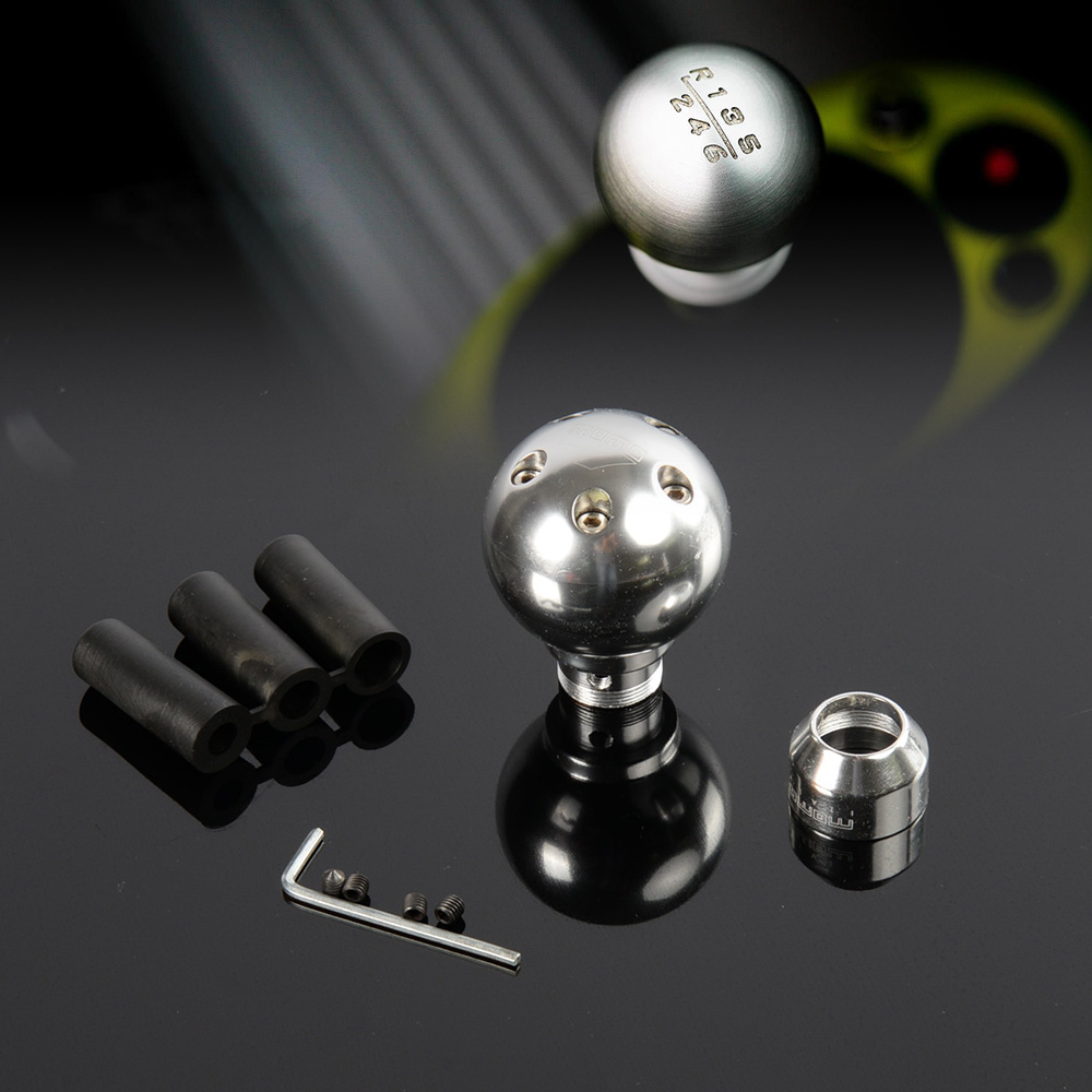 Free Shipping UNIVERSAL ROUND ERGONOMIC CRYSTAL MANUAL STICK SHIFT KNOB CHROME SILIVER