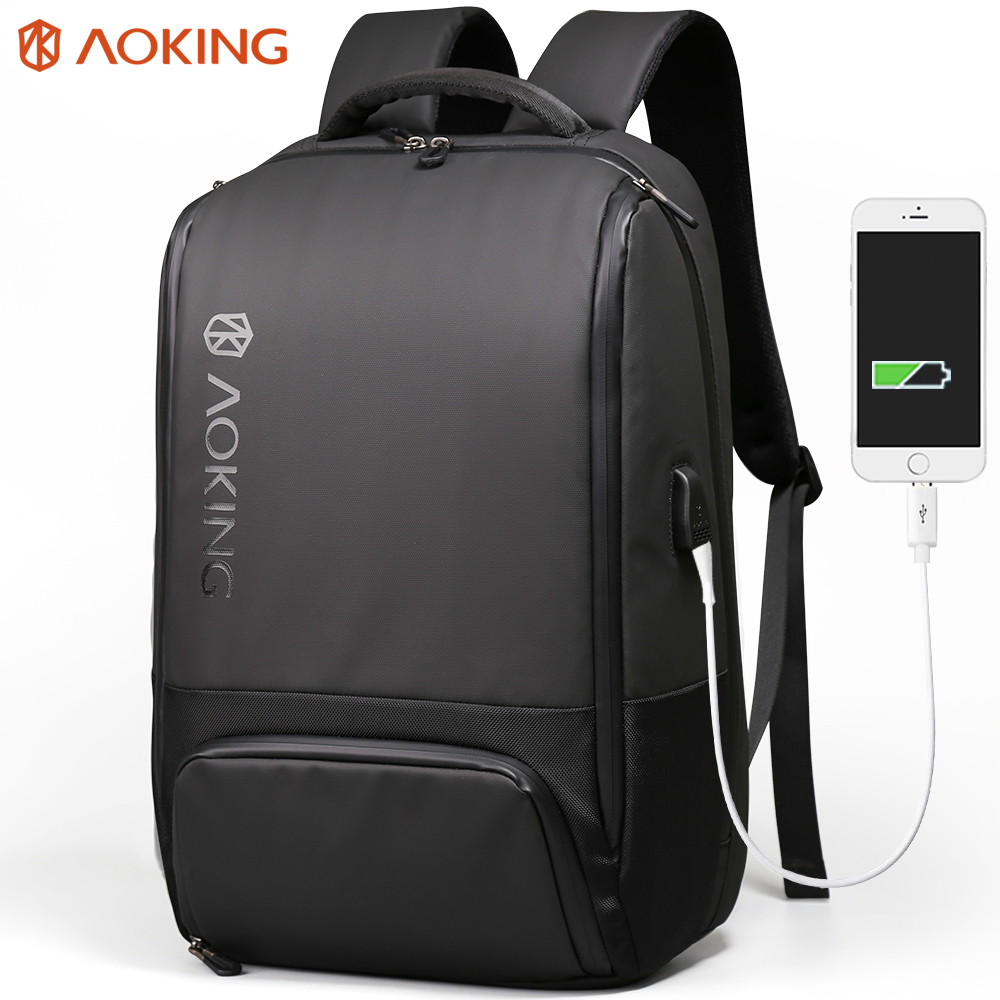 Aoking 2018 New Men Stylish Backpack Water Resistance with USB Charing College Backpack Male Shell Shape