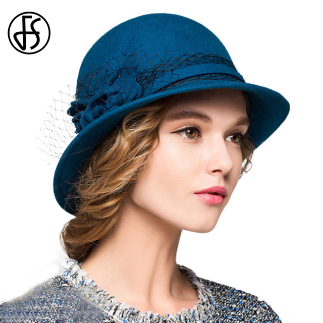43208b3ede3 US $23.79 30% OFF|FS 100% Wool Cloche Hats Women For Winter Black Blue Red  Wide Brim Fedora Elegant Floral Felt Hat For Ladies Church Cap-in Fedoras  ...
