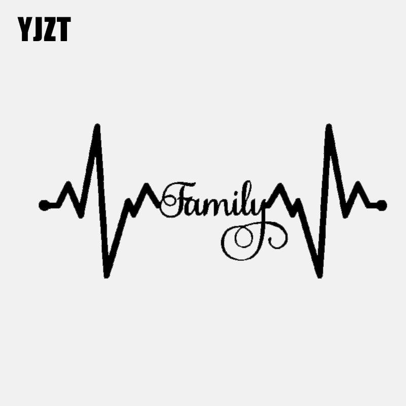 YJZT 15.5CM*6.8CM Fashion Family Lifeline Black Silver Vinyl High-quality Decor Car Sticker Decals C11-1517