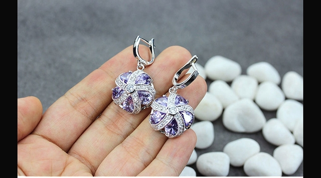 Amethyst Cubic Zirconia round Jewelry Silver Plated Earrings lR4a50 Wholesale Christmas gift Noble Generous First class products