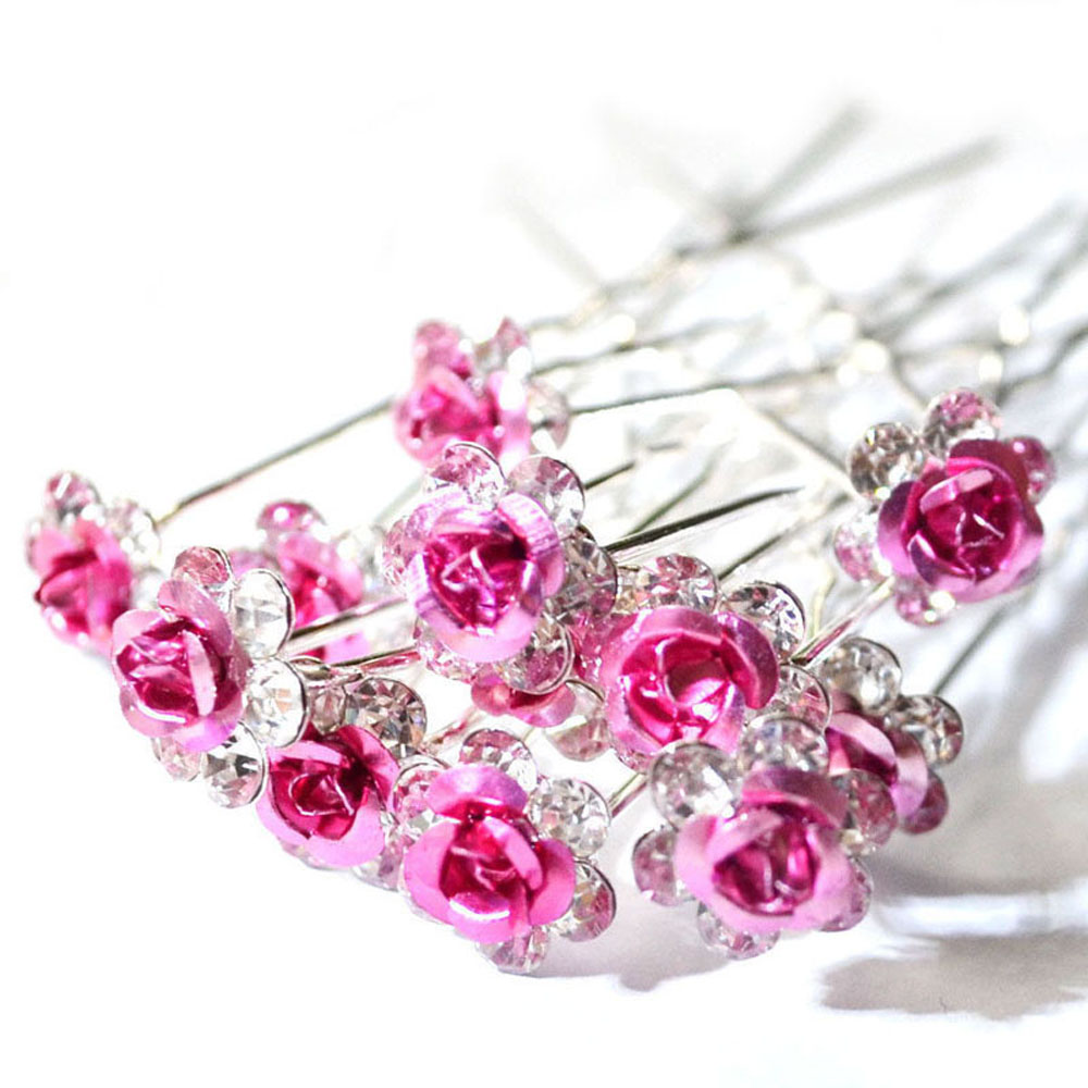 Hot 20Pcs/pack Wedding Party Bridal Clear Crystal Rhinestone Rose Flower Hair Clips Hair Accessories Jewelry Barrettes   Headwear