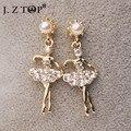 Hot Sale Rhinestone Imitation Pearl Dancing Girl Stud Earrings Cute Metal Crystal Long Earrings Statement Earring For Women Gift