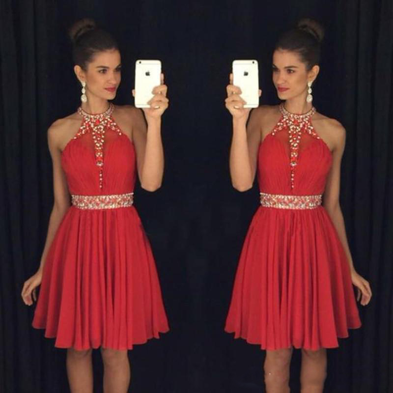 Little Red Chiffon Knee Length Party Homecoming Dresses A Line Halter Neck Beaded Crystals Vestidos De 15 Cortos