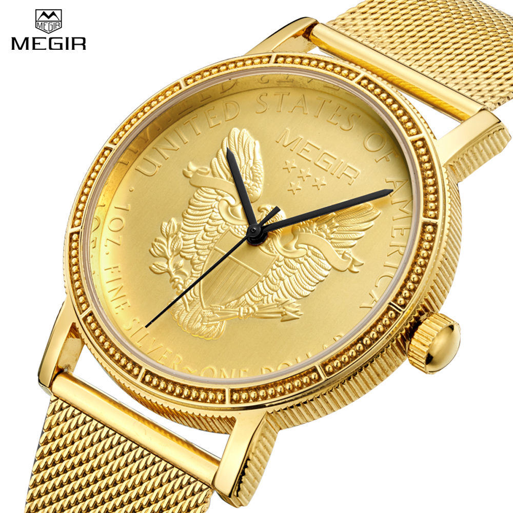 online get cheap engraved watches aliexpress com alibaba group megir men s casual watch plating 18k gold engraved dial men stainless steel mesh strap watches relogio