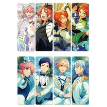 8pcs Ensemble Stars Anime Bookmarks Waterproof Transparent PVC Plastic Bookmark Beautiful Book Marks Gift