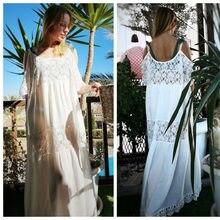 2019 Cotton Patchwork Lace Beach Dress Long Beach Cover up Vestido Bathing suit Cover ups Beach Sarong Robe de Plage Tunic #Q689