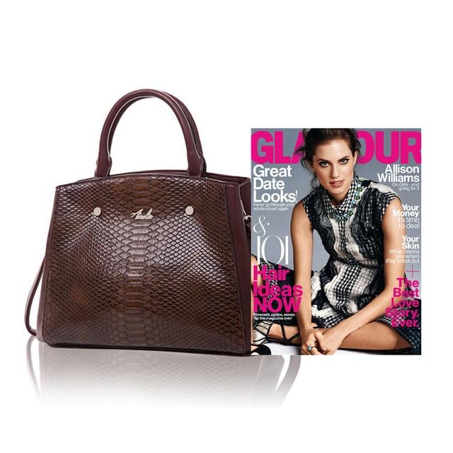 AMELIE GALANTI Casual Tote Ladies Fashion Handbags Serpentine Pattern Pocket High Quality PU Leather Fabric Classic Women Bag Top-Handle Bags