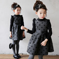 Новое прибытие детская зимняя одежда, девушки платья, с длинным рукавом детей платье принцессы, Корейский детские платья, бесплатная доставка