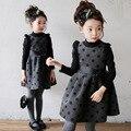 Nova chegada das crianças roupas de inverno, vestidos de meninas, crianças de manga comprida vestido de princesa, vestidos das crianças Coreanas, frete grátis
