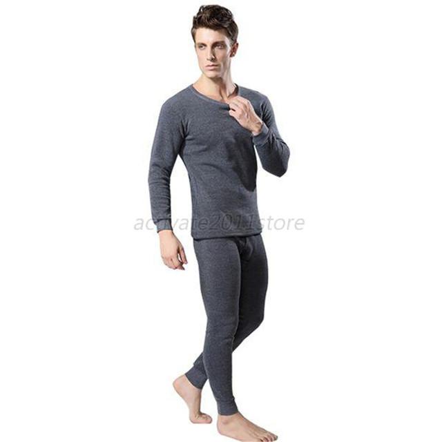 Homens 2 Pcs Algodão Conjunto Underwear Térmico de Inverno Engrossar Quente Long Johns Tops Inferior