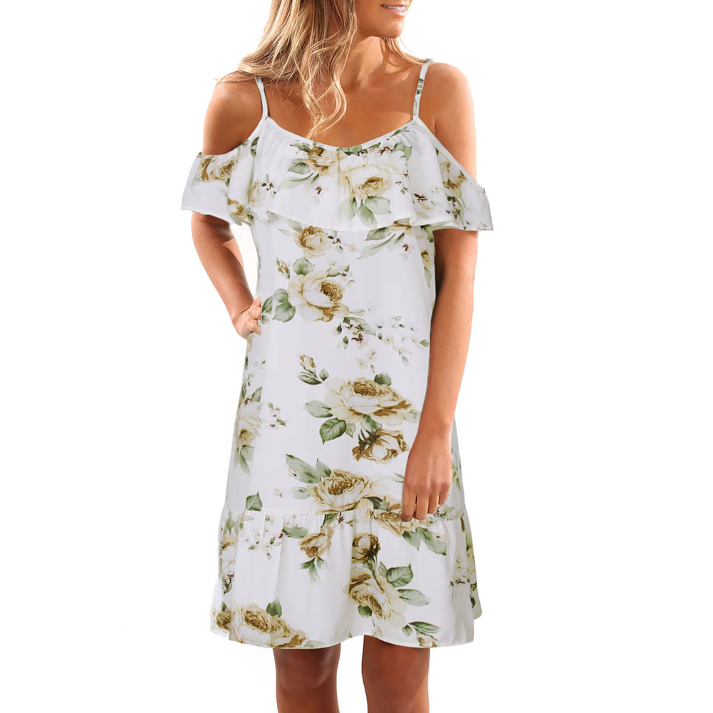 682a3611b58e Summer Off Shoulder Dress Women Cold Shoulder Ruffles Print Midi Dress  Strap Beach Boho Party Sexy Dress White Flower Vestidos-in Dresses from  Women s ...