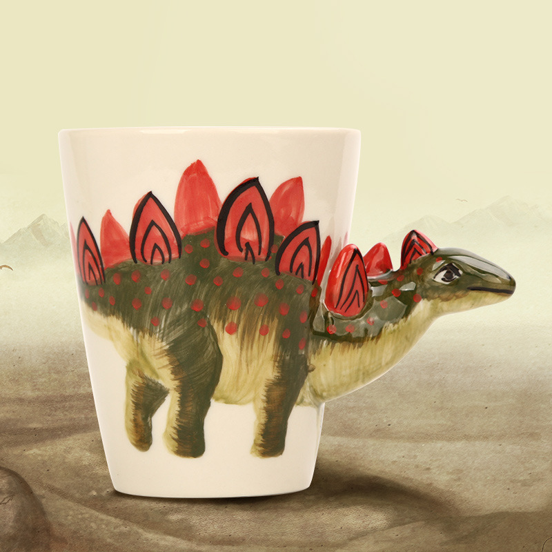 3D Painted Dinosaur Porcelain Mug Creative Tyrannosaurus Stegosaurus Pterosauria Ceramic Tea Coffee Mug child gift