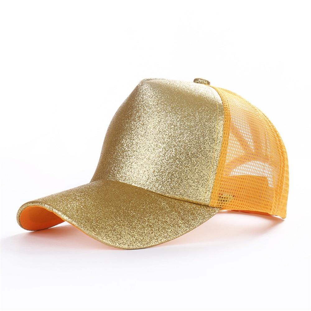 Trendy Glitter Ponytail   Baseball     Cap   Women Snapback Hip Hop Snapback   Caps   Female Sequins Shine Summer Hats Mesh Outdoor Hat Bone
