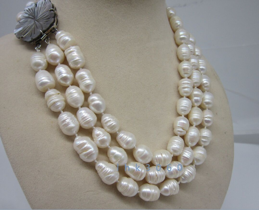 3 row 12-14mm natural south sea white baroque pearl necklace 17-19>Selling jewerly free shipping