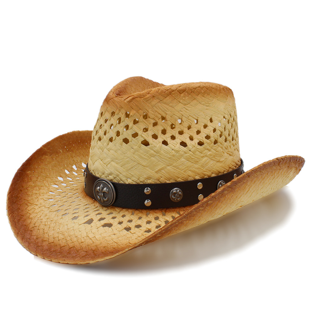 Apparel Accessories Just 2019 Women Men Sun Sun Hat With Leather Ribbon Handmade Weave Beach Sun Sombrero Cowboy Hat Size 58cm A0140 To Be Distributed All Over The World