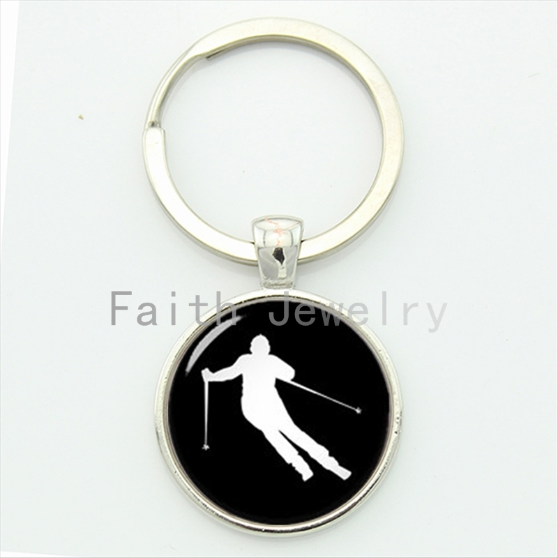 Vintage casual sports elegant ski silhouette key chain go skiing keychain silver plated men gifts snow sports jewelry idea KC597 ...
