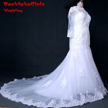 100% Real picture Free Shipping Custom made High-Neck Wedding Dresses A-Line lace Appliques Bridal Gowns Wedding Dress 2017