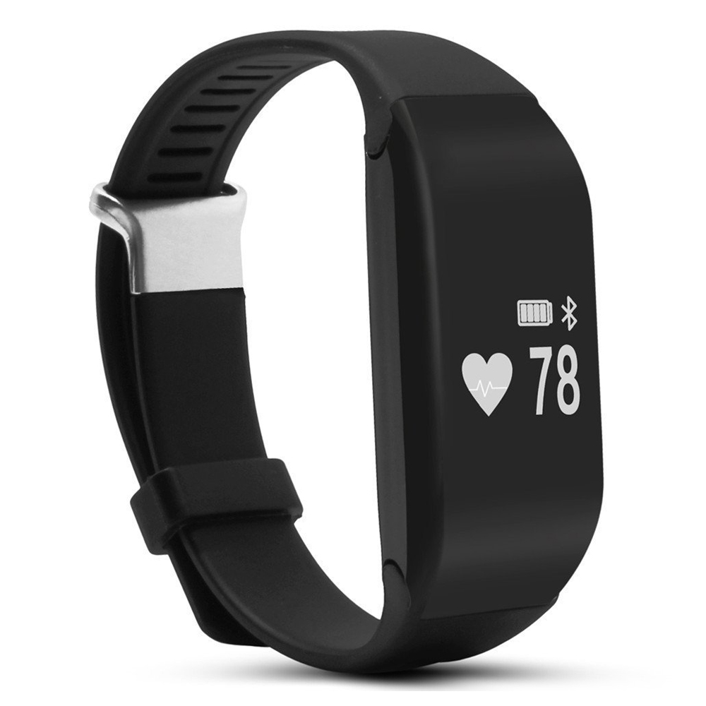 H3 Bluetooth 4 0 IP67 waterproof OLED Display smart watch wristband Heart rate pedometer Black