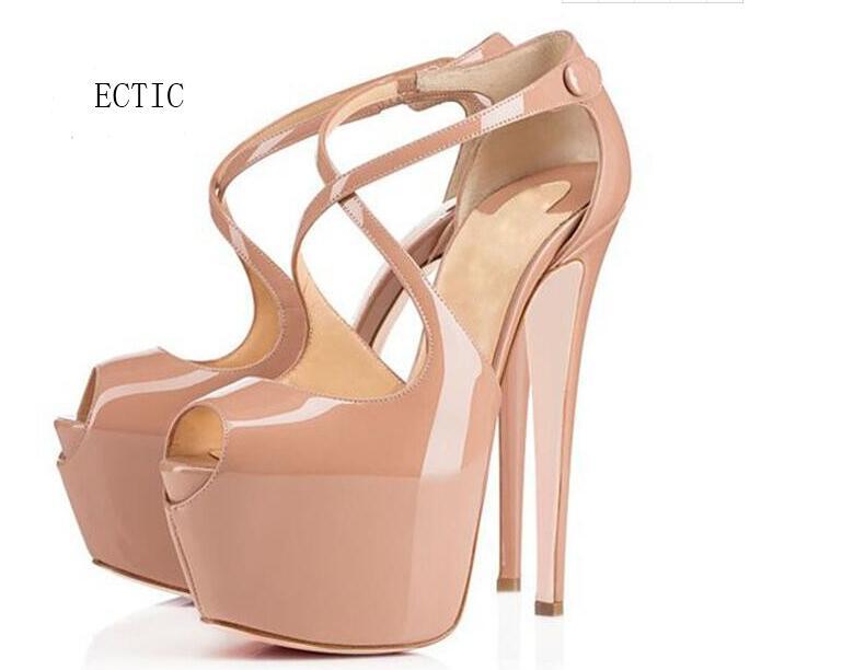 16CM Brand Nude Patent Leather Peep Toe Cross Straps High Heels Platform Women Shoes Stilettos Custom Colors Plus Size 34-42 box apopeo nude patent leather peep toe