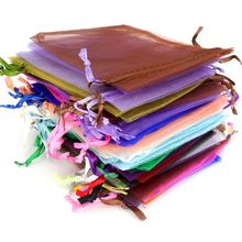 7x9 9x12 10x15CM Colorful Jewelry Packing Drawstring Pouch Organza Bag For Party Wedding Gift Handmade DIY Accessories