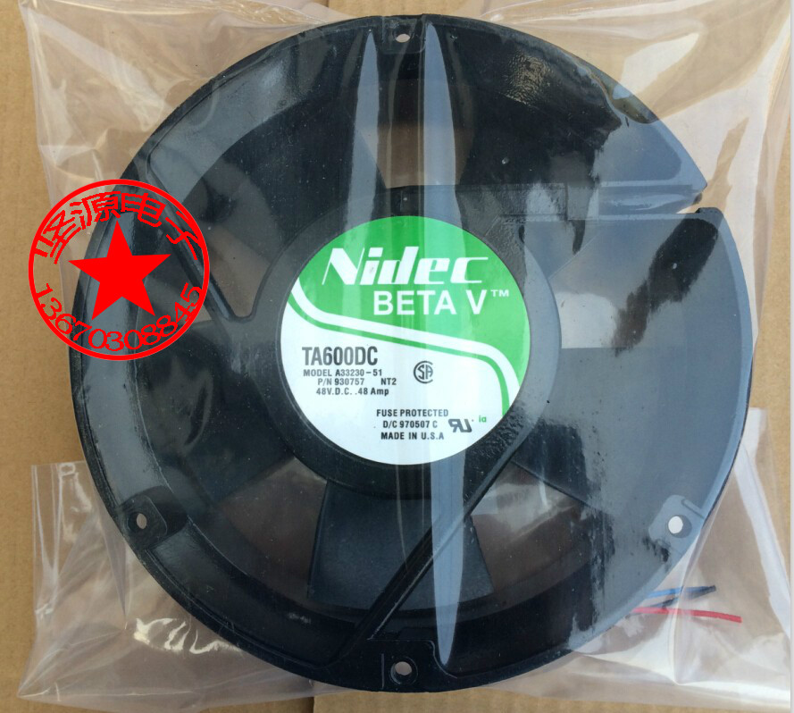 Free Shipping For Nidec A33230-48 DC 48V 0.48A, 3-wire 172x172x51mm Server Round Fan free shipping 24v dc mig welding wire feeder motor single drive 1pcs