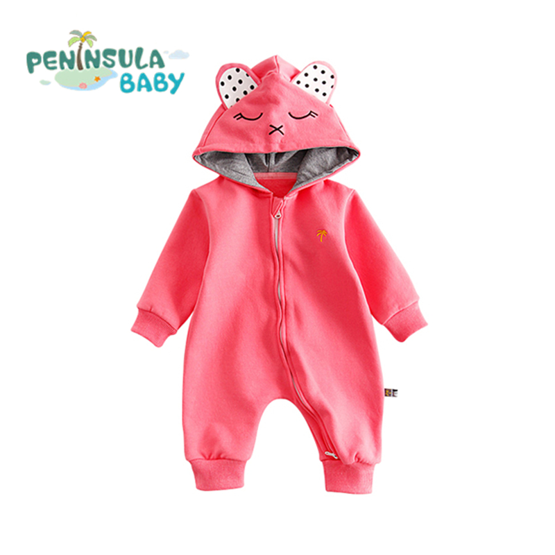 New Born Baby Crawling Coverall Clothes Toddler Boys Girls Long Sleeve Cartoon Bear Warm Hooded Kids Overalls Infant Jumpsuit puseky 2017 infant romper baby boys girls jumpsuit newborn bebe clothing hooded toddler baby clothes cute panda romper costumes