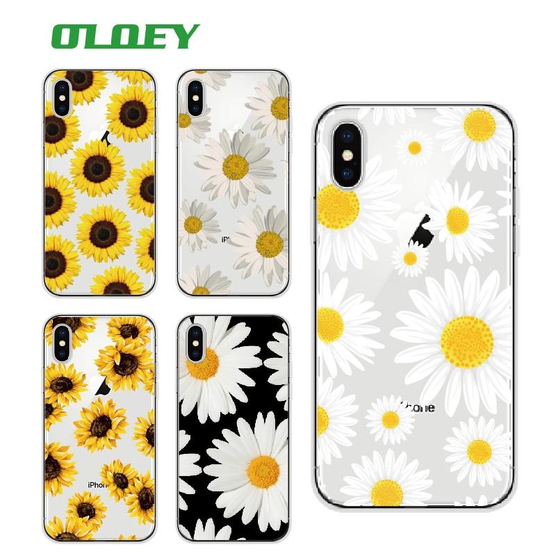 OLOEY Cute Summer Sunflower Floral Flower Soft Clear Phone ...