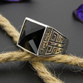 Natural Black Agate Ring Vintage 925 Sterling Silver anillos Adjustable S925 Thai Silver Rings for Men Jewelry