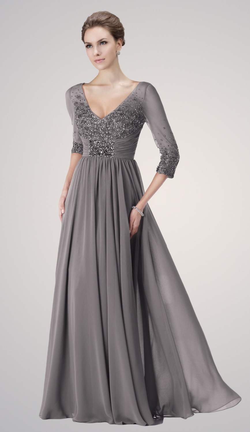 Woman a line evening dress three quarter sleeve mother for Cocktail dress with sleeves for wedding