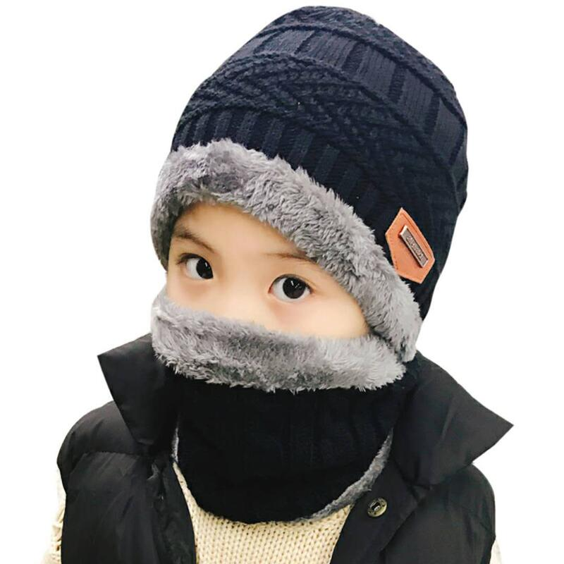 Child 2pcs super warm Winter balaclava wool Beanies Knitted Hat and scarf for 3-12 years old girl boy hats